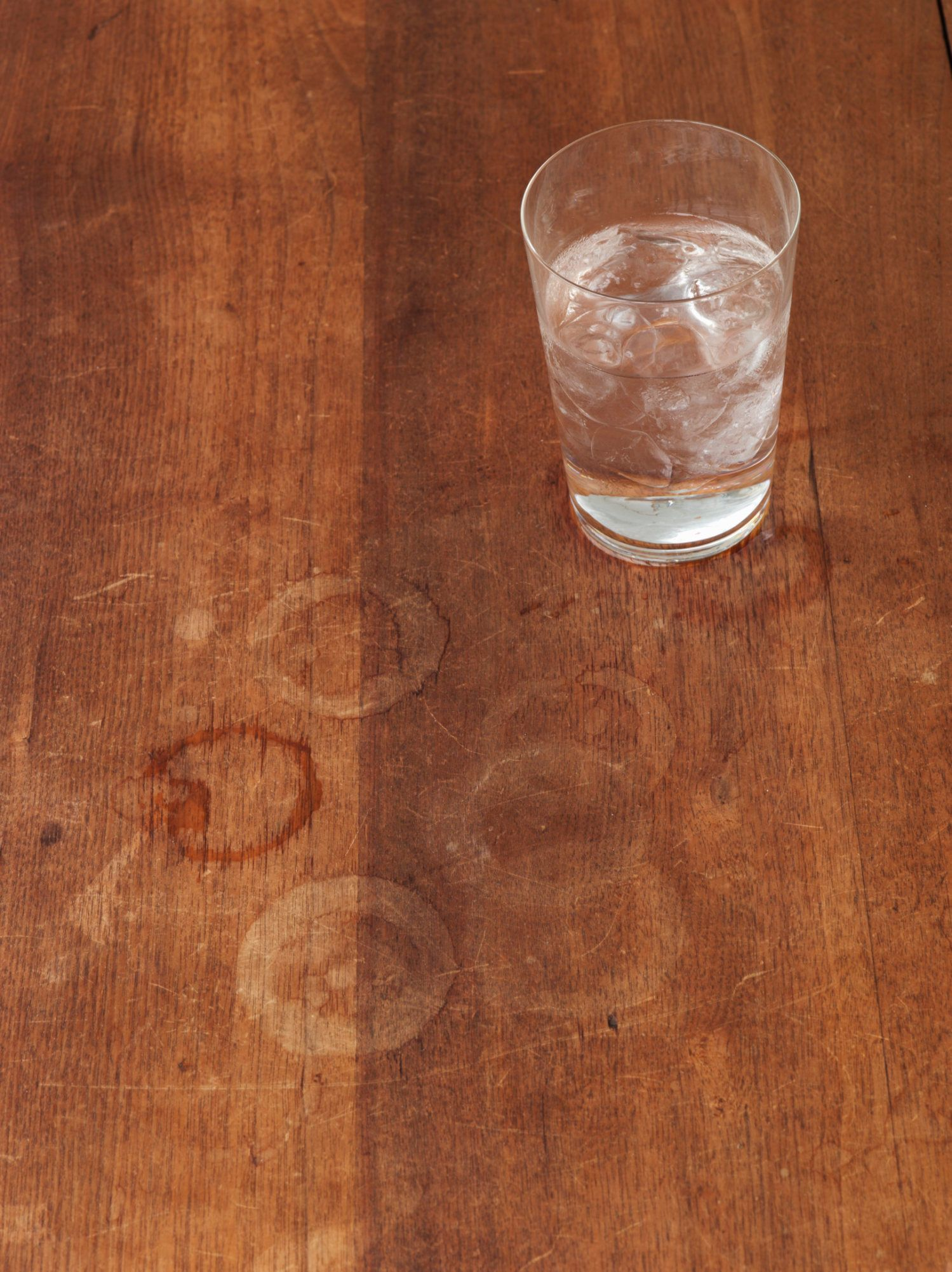 Wood table with glass of water