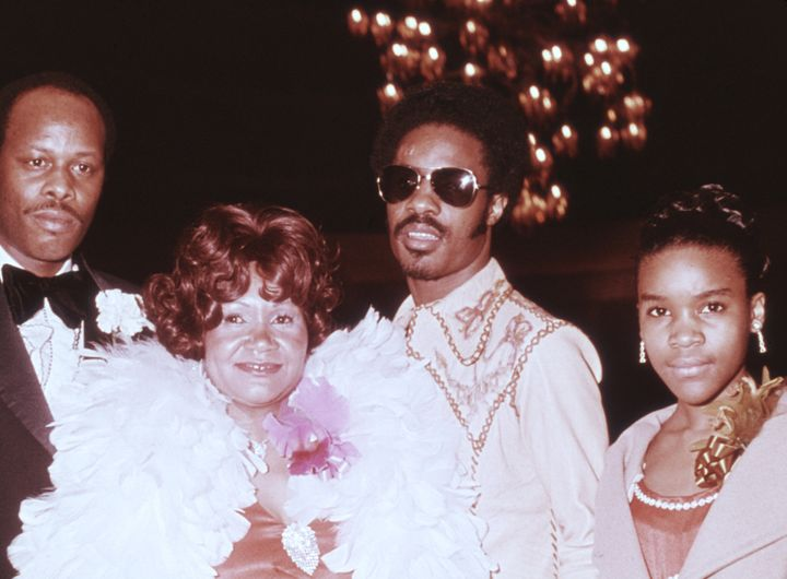 Lula Mae Hardaway and her son, Stevie Wonder (both center), attend the 1974 Grammy Awards with other family members.