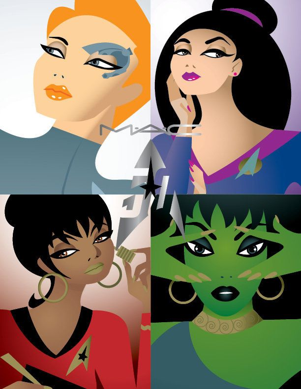 Caricatures of Star Trek female characters Seven of Nine, Deanna Troi, Uhura and Vina, the Orion girl, front the campaign for MAC's new Star Trek makeup collection.