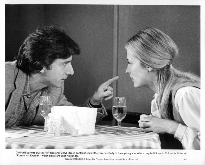 """Dustin Hoffman and Meryl Streep confront each other in a scene from the film """"Kramer vs. Kramer."""""""