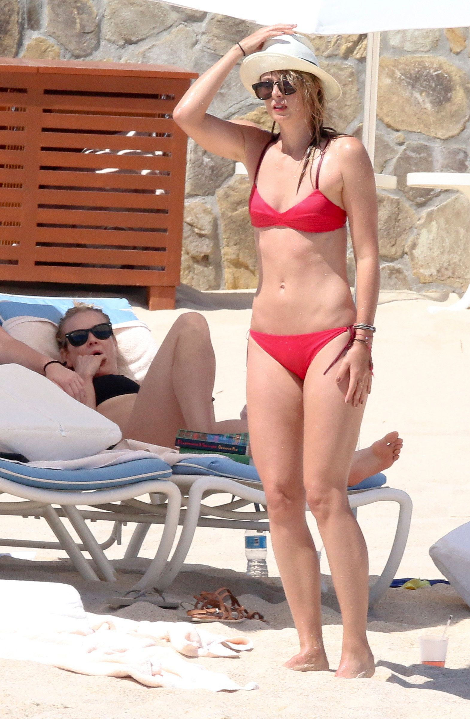 EXCLUSIVE:  Maria Sharapova and Chelsea Handler soak up the sun on the beaches of Mexico. The friends, who showed off their slender frames in bikinis, sunbathed on the sand and took a dip in the ocean during their Easter holiday on March 26, 2016. Their vacation came just three weeks after tennis star Sharapova revealed she had failed a drugs test at the 2016 Australian Open and admitted to testing positive for meldonium.  NOTE **PHOTOS MARCH 26,2016  <P> Pictured: Chelsea Handler, maria sharapova <B>Ref: SPL1252993  280316   EXCLUSIVE</B><BR/> Picture by: Clasos.com.mx<BR/> </P><P> <B>Splash News and Pictures</B><BR/> Los Angeles:310-821-2666<BR/> New York:212-619-2666<BR/> London:870-934-2666<BR/> photodesk@splashnews.com<BR/> </P>