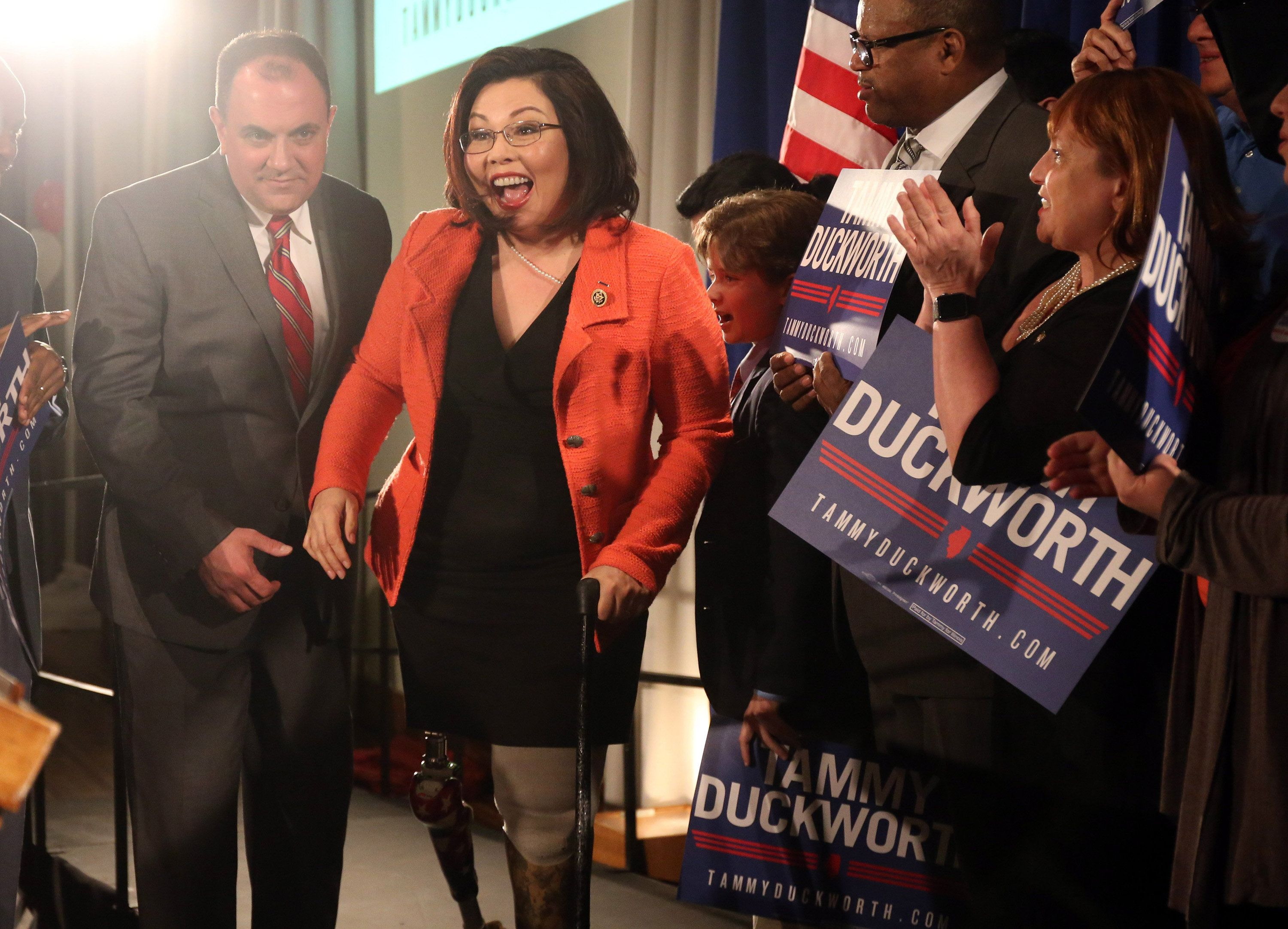 U.S. Rep. Tammy Duckworth celebrates on Tuesday, March 15, 2016, after her Democratic primary victory on election night at the Ivy Room in Chicago. (Brian Cassella/Chicago Tribune/TNS via Getty Images)