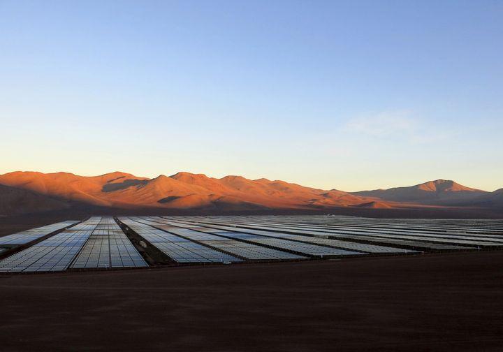 Solar panels that SunEdison installed in Chile's Atacama Desert.