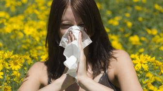 Young woman sneezing in meadow, close-up