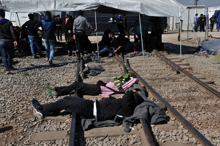 Migrants and refugees blocked railway tracks in Idomeni in past days to protest the closure of the border.