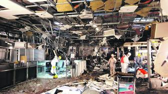 Damage is seen inside the departure terminal following the March 22, 2016 bombing at Zaventem Airport, in these undated photos made available to Reuters by the Belgian newspaper Het Nieuwsblad, in Brussels, Belgium, March 29, 2016.  Het Nieuwsblad via REUTERSATTENTION EDITORS - THIS PICTURE WAS PROVIDED BY A THIRD PARTY. IT IS DISTRIBUTED BY REUTERS AS A SERVICE TO CLIENTS. EDITORIAL USE ONLY. NOT FOR SALE FOR MARKETING OR ADVERTISING CAMPAIGNS. NO RESALES. NO ARCHIVE. BELGIUM OUT. NO COMMERCIAL OR EDITORIAL SALES IN BELGIUM.         TPX IMAGES OF THE DAY