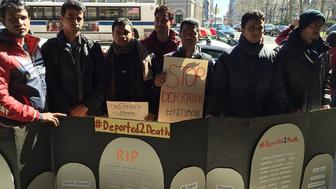 From left to right, Saiful Islam, Kamran Ahmed, MD Rashadul Hasan, Sujon, Mohammed Aminul Hosen, Jahed Ahmed, and Mahammad Rahman stand outside the Brooklyn headquarters Hillary Clinton's campaign for president. The seven men are asking Clinton to help stop their deportation to Bangladesh next week, where they fear they'll be attacked or killed over their political affiliations.