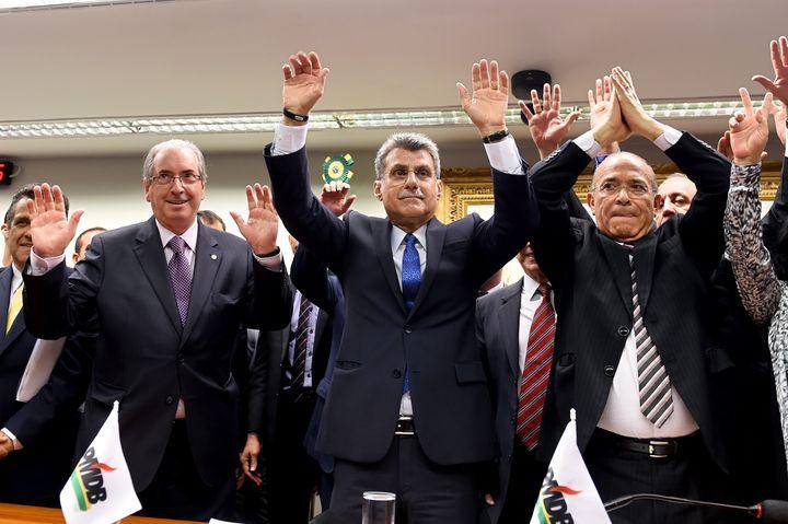 Brazil's PMDB party lawmakers Eduardo Cunha (left), president of the lower chamber, senators Romero Juca (center) and former