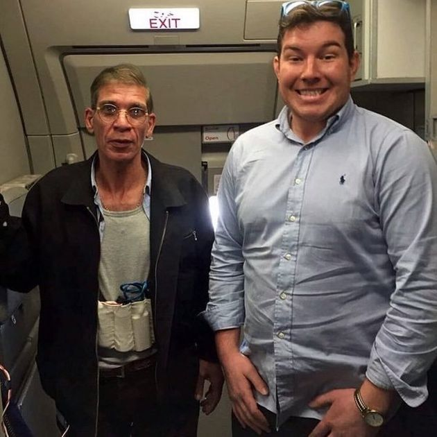 British passenger Ben Innes poses for a photo with EgyptAir hijacker Seif al-Din