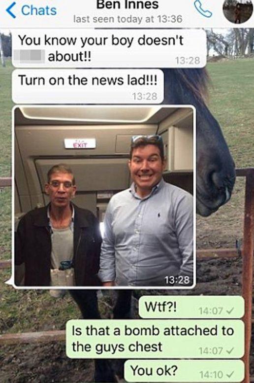 A screenshot of Ben Innes' WhatsApp messages to