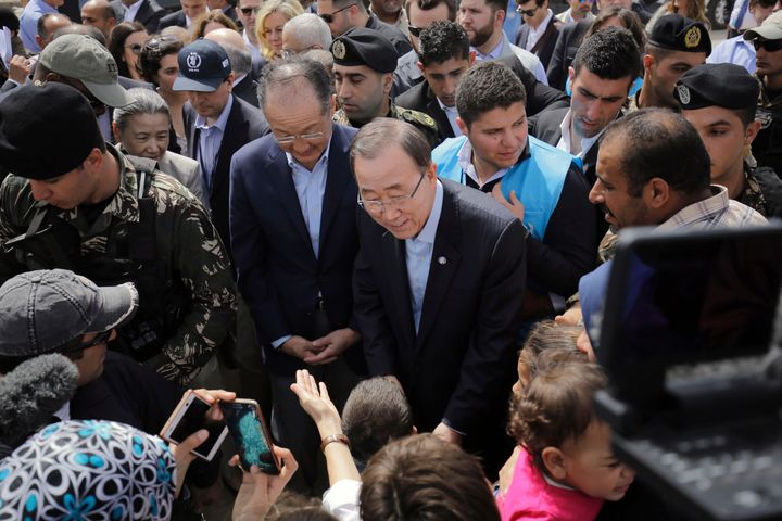 UN Secretary General Ban Ki-moon and World Bank President Jim Yong Kim meet Syrian refugees during their visit in Hay al