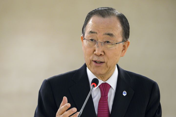 UN Secretary General Ban Ki-Moon delivers a speech during a conference of the United Nations High Commissioner for Refug