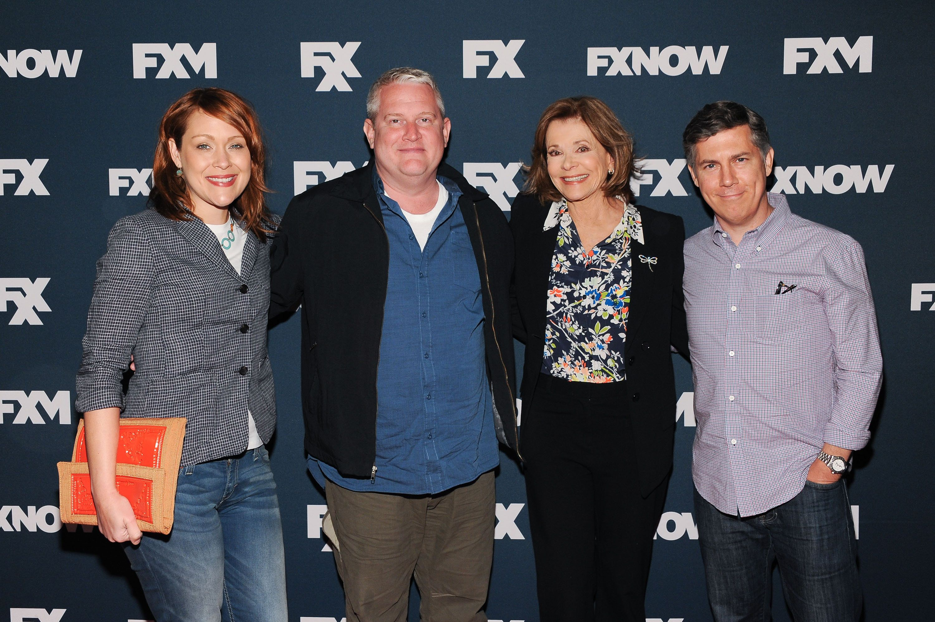 NEW YORK, NY - APRIL 22:  (L-R) Amber Nash, Adam Reed, Jessica Walter, and Chris Parnell attend the 2015 FX Bowling Party at Lucky Strike on April 22, 2015 in New York City.  (Photo by D Dipasupil/Getty Images)