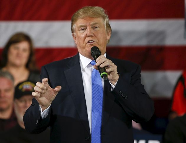 Donald Trump speaks during a Town Hall in Janesville, Wisconsin March 29,
