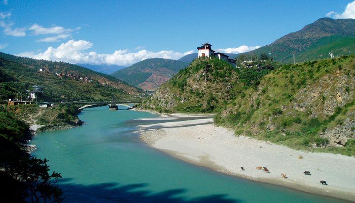 A view of Bhutan's Wangdue Phodrang Dzong.