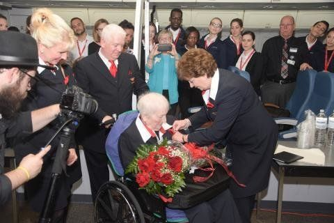 Clem Ferguson, 96, receives her honorary wings from Delta.
