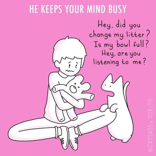 恋人と別れたあなたを、猫ちゃんはこんな風に癒します。イラストに共感