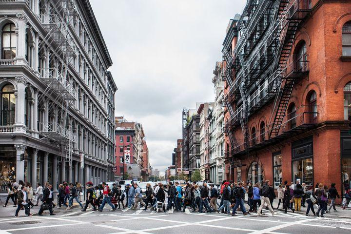 Crowds inSoHo, New York City.