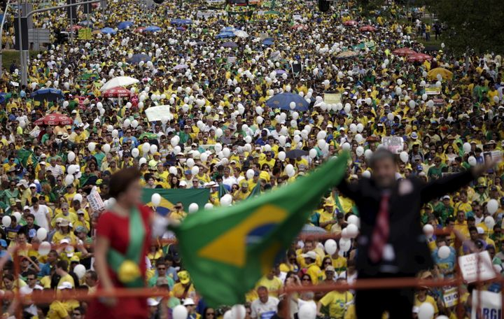 This March 13protest in Brazil's capital,Brasilia, formed part of a seriesof nationwide protests calling fo