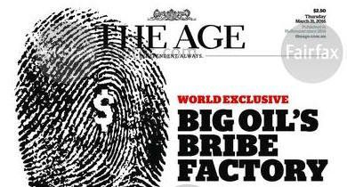 The Age splashed the investigation intoUnaoil across Thursday's front page.