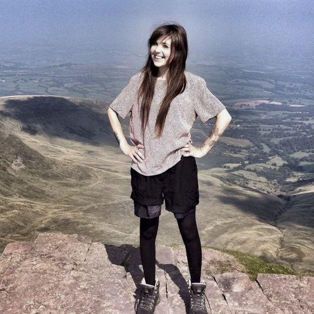 Sara Albone on top of Brecon Beacons mountain
