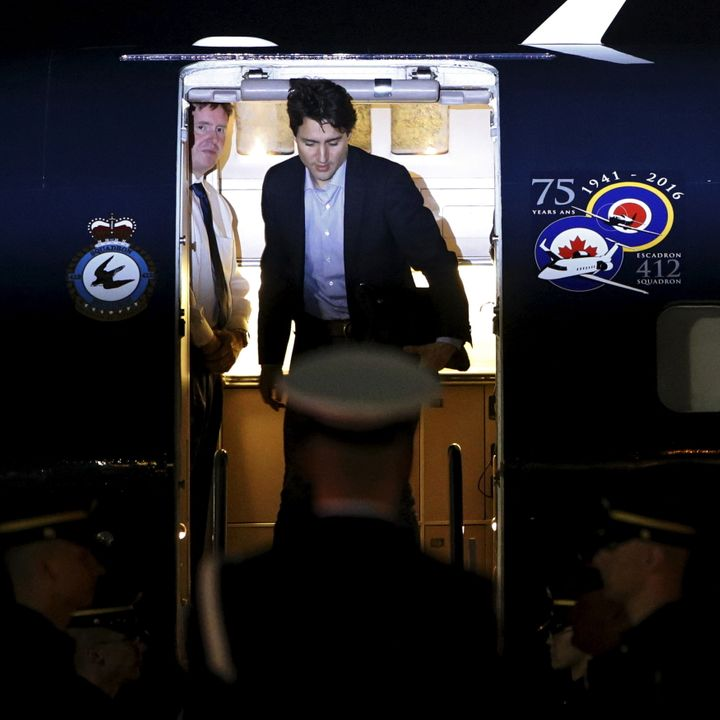 Canadian Prime Minister Justin Trudeau arrives for the Summit on March 30, which Russian President Vladimir Putin will not be