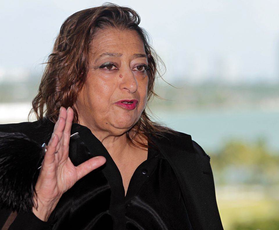 Renowned international architect Zaha Hadid speaks to the media after a ground-breaking ceremony for...