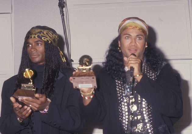 Rob Pilatus and Fab Morvan attend Milli Vanilli Press Conference on November 20, 1990 at Ocean Way Recording...