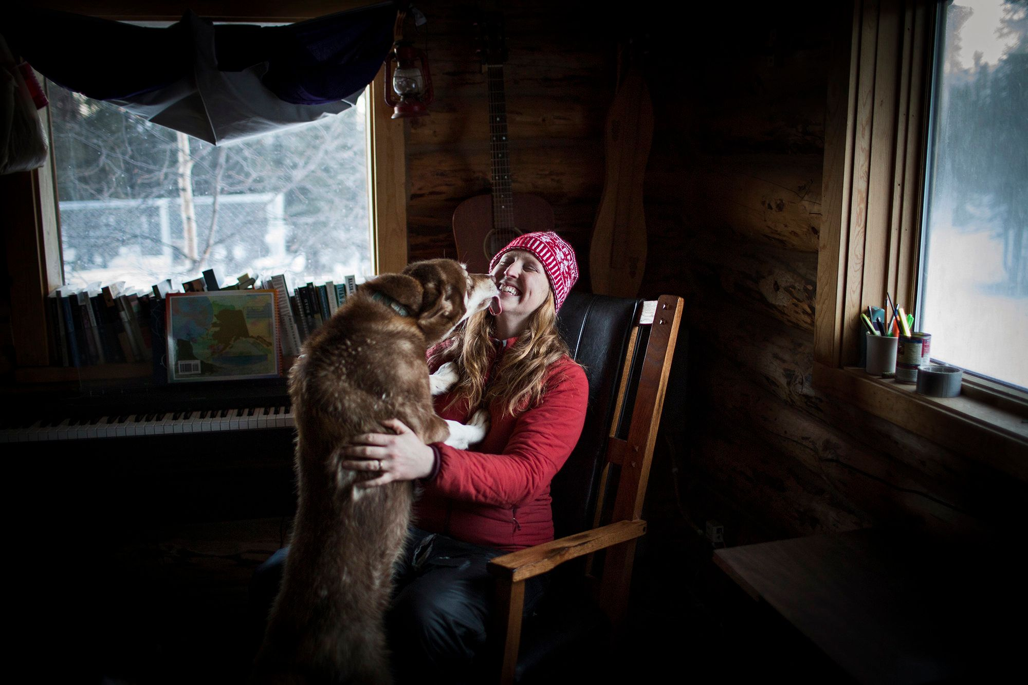 Kristin Knight Pace and Piper at home in Healy, Alaska.