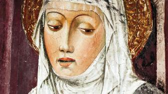 St Catherine of Siena, 13th-15th century, by an unknown artist, fresco. Detail. St Francis Church, Lodi, Italy.