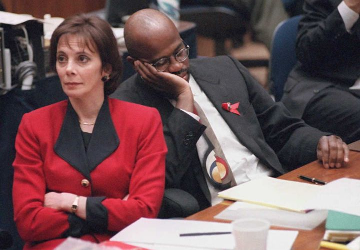 Clark and fellow prosecutor Christopher Darden during the O.J. Simpson trial.