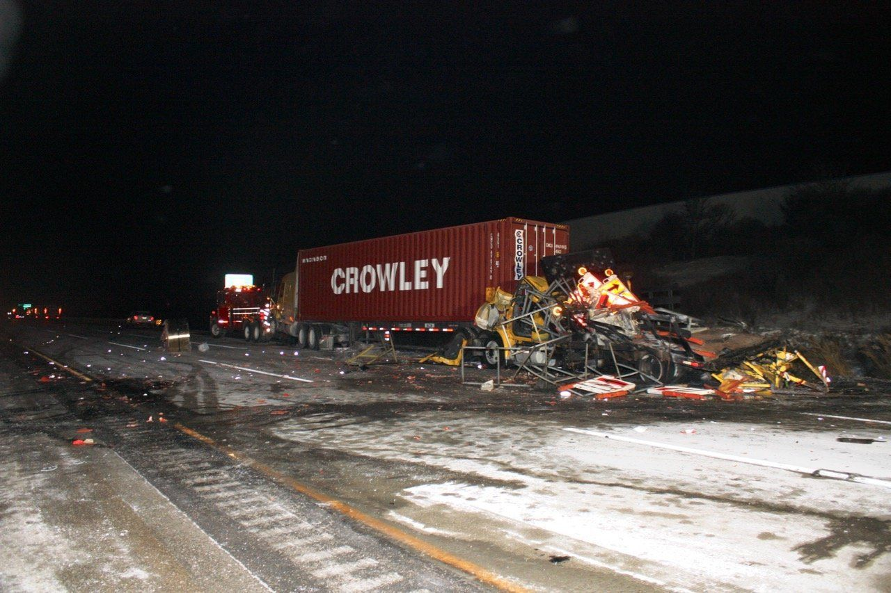 A scene from the Jan. 27, 2014 tractor trailer accident that killed one man and critically injured Illinois State Trooper Dou