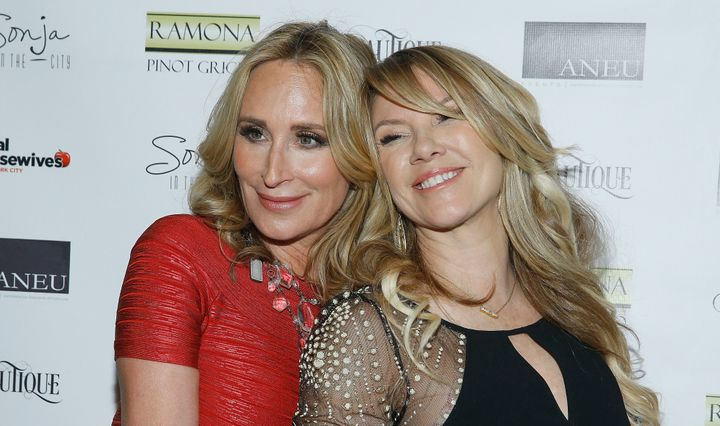 Sonja Morgan and Ramona Singer attend 'The Real Housewives of New York City' season 8 premiere party at Beautique on March 29
