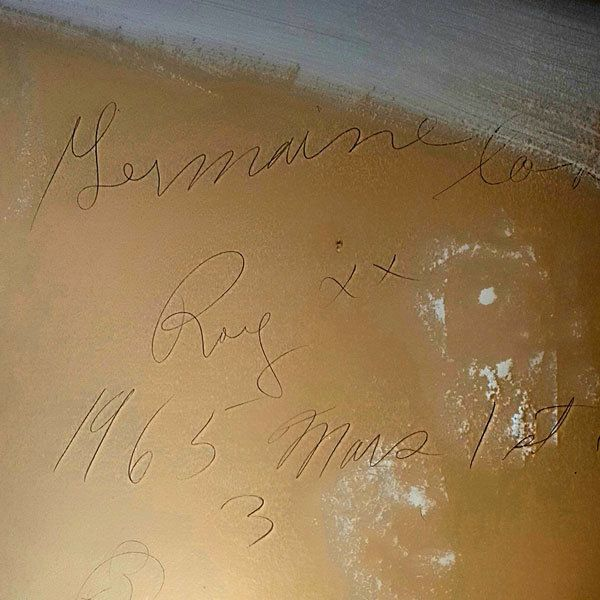 "The love note reads: ""Germaine loves Roy xx 1965 Mars 1st."""