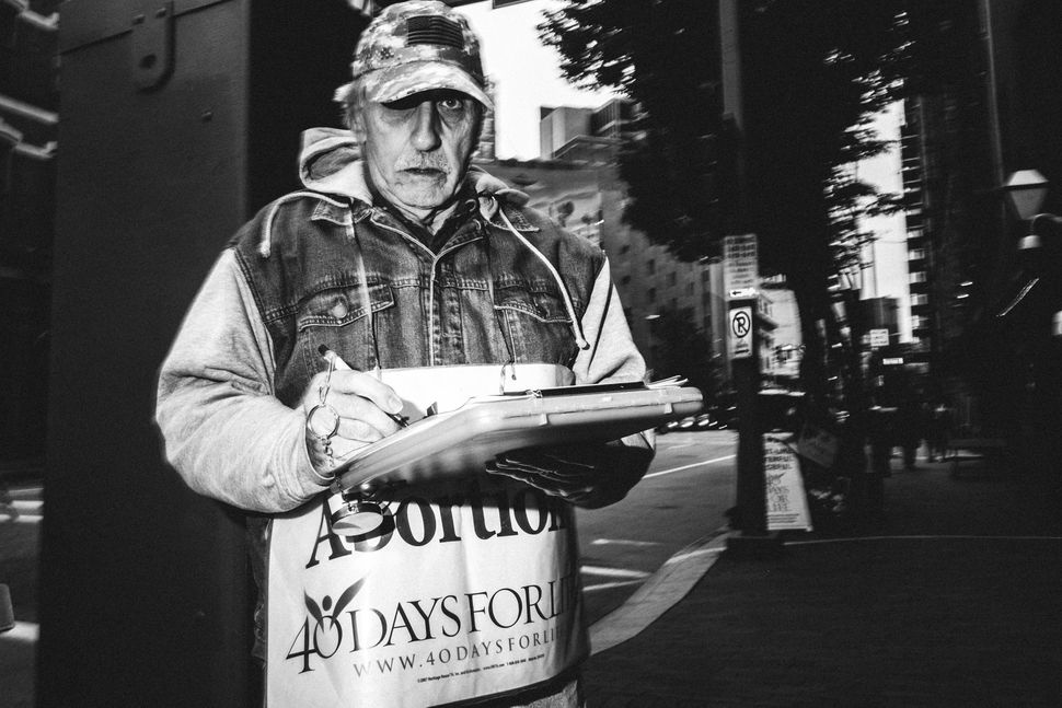 October 2nd, 2015 - 40 Days for Life protester outside of Planned Parenthood on Liberty Avenue in Pittsburgh, PA