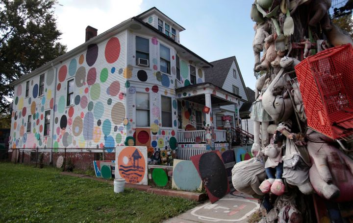 An occupied house painted with polka dots, shown in 2013, is part of artist Tyree Guyton's ongoing Heidelberg Project install