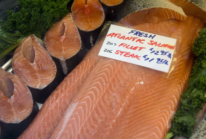 Fresh Atlantic salmon steaks and fillets at Eastern Market in Washington, D.C. in 2013.