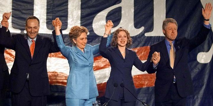 Hillary Clinton defeated Republican Rick Lazio in 2000 for the open U.S. Senate seat in New York. She celebrated with Sen. Ch