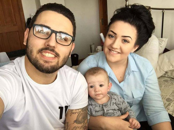 Chloe Hedges, Jake Banyard and their son Frankie - now six months