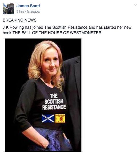 JK Rowling's April Fools' Day Tweet Effortlessly Trolls Scottish Independence
