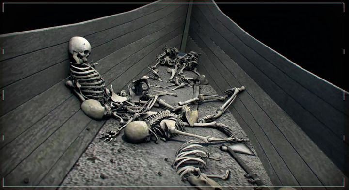 CGI reconstruction/animation graphic that depicts skeletons of dead Vikings in a longshp.
