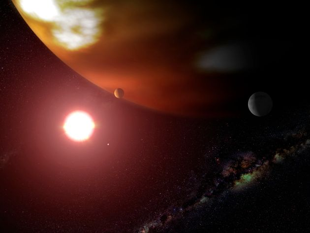An artist's concept of a gas giant planet orbiting the cool, red dwarf star Gliese