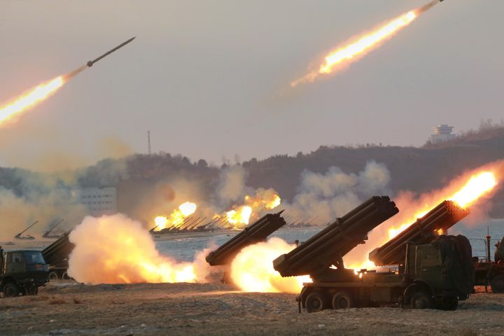 Rocket launchers are fired during a military drill in an undated photo released by North Korea's Korean Central News Agency.