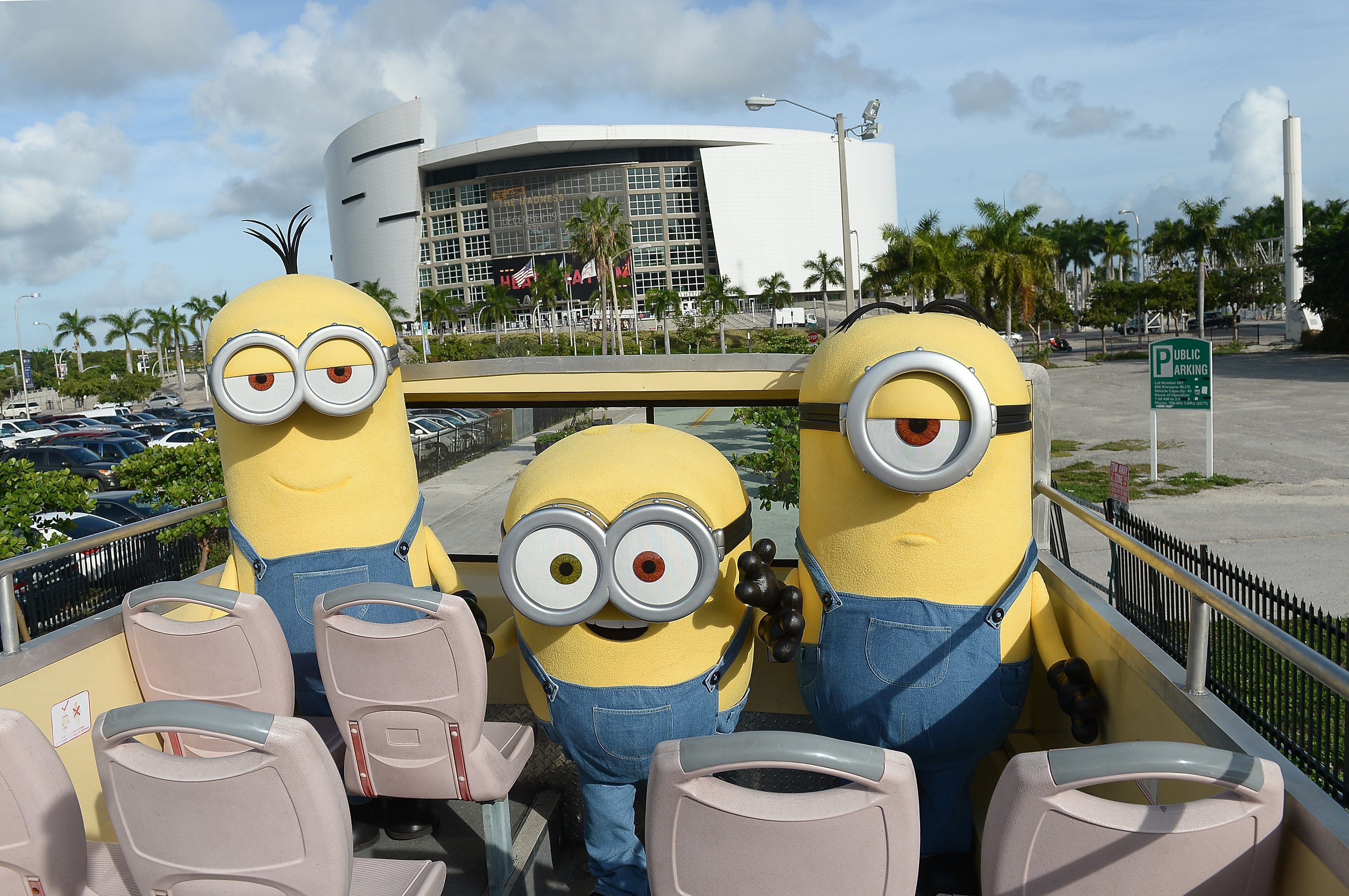 MIAMI, FL - NOVEMBER 19:  Minions Kevin, Stuart and Bob make an appearance on CitySightseeing Miami Hop on Hop off tour while in Miami for the NASCAR Ford Championship Weekend and the upcoming home entertainment release of Minions on digital HD on November 24 and Blu-ray & DVD December 8, on November 19, 2015 in Miami, Florida.  (Photo by Gustavo Caballero/Getty Images For Universal Pictures Home Entertainment)