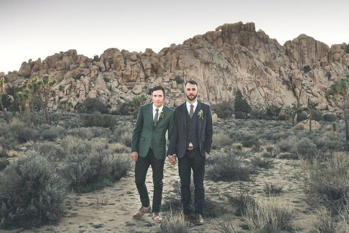 The stylish couple paired their Ted Baker suits with shoes by Ben Sherman. Their ties were by Spectre & Co.