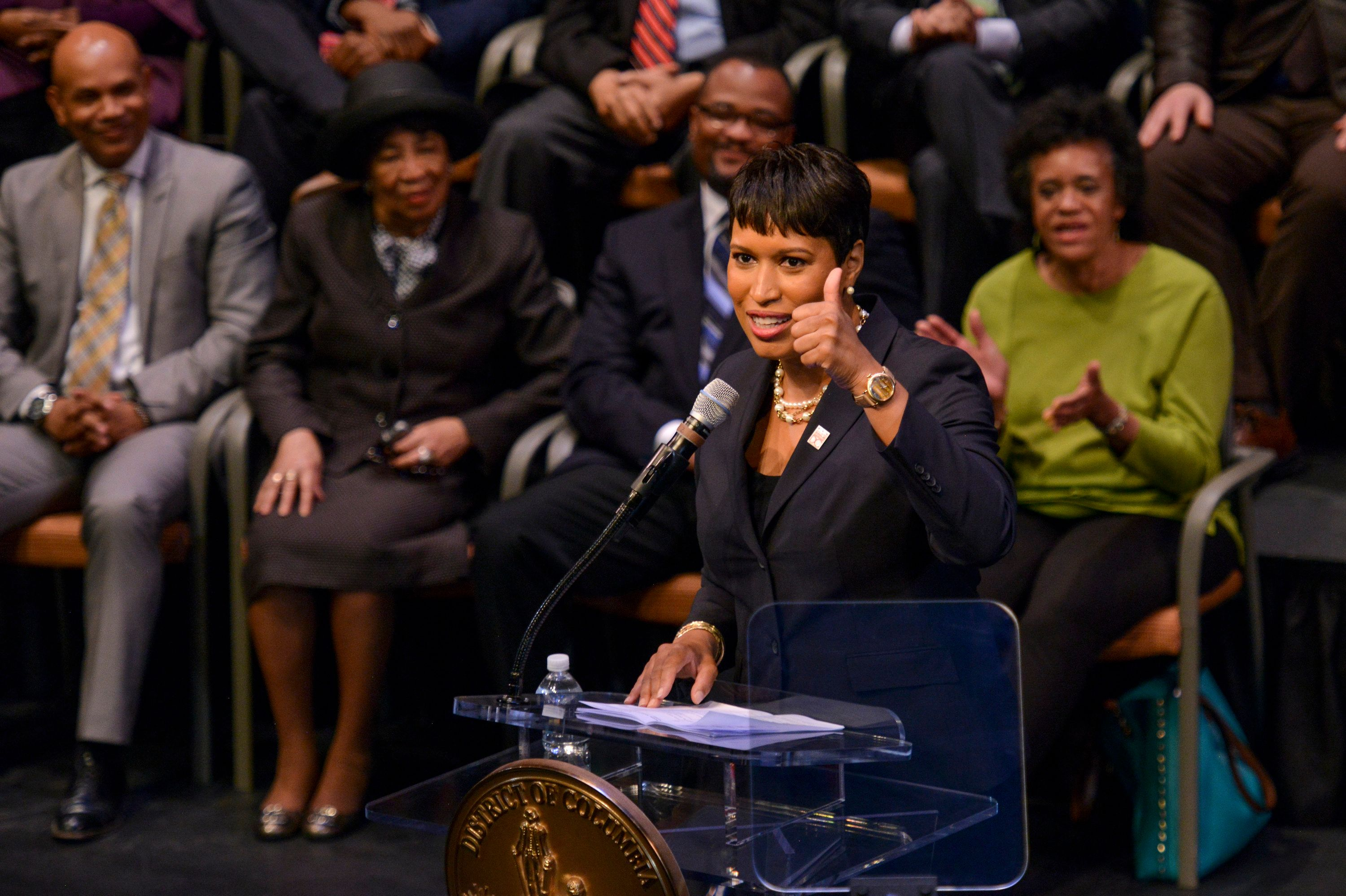 WASHINGTON, DC   MARCH 22: D.C. Mayor Muriel Bowser delivers the 2016 State of the District Address at the Arena Stage on Tuesday, March 22, 2016, in Washington, DC.   (Photo by Jahi Chikwendiu/The Washington Post via Getty Images)