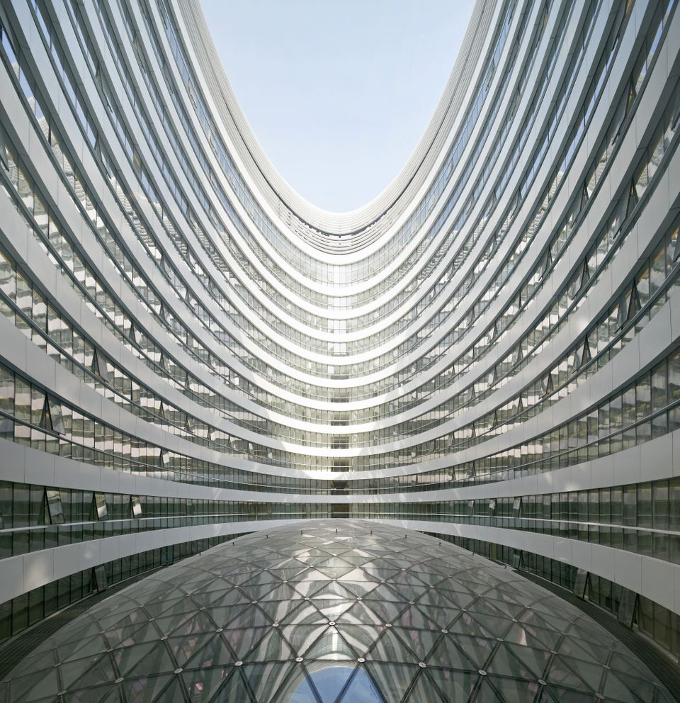 Wide angle view of atrium with glazed skylight, Galaxy Soho, Beijing, China, Architect: Zaha Hadid Architects, 2012.