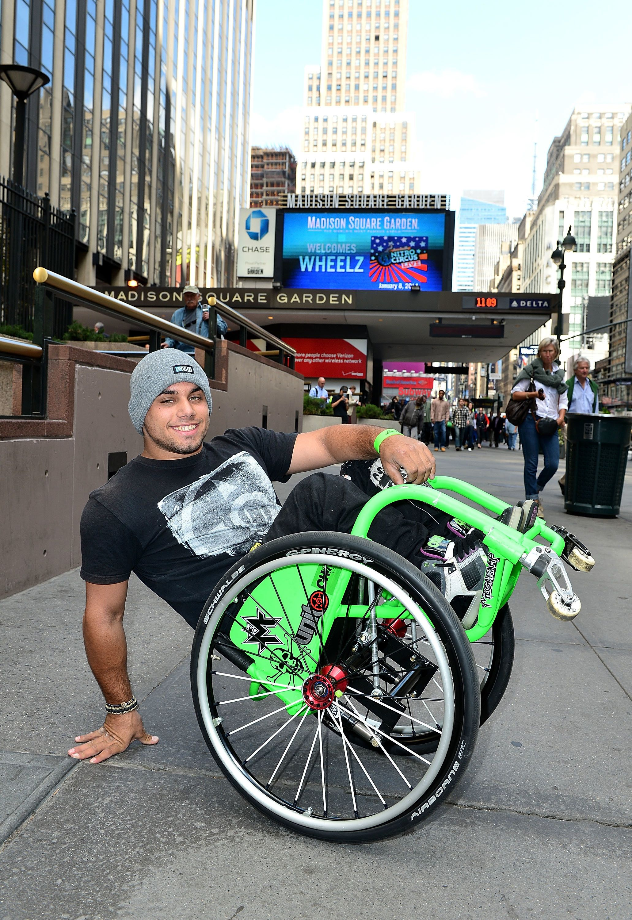 NEW YORK, NY - SEPTEMBER 26:  Extreme wheelchair athlete Aaron 'Wheelz' Fotheringham poses for photos outside Madison Square Garden on September 26, 2013 in New York City to promote Nitro Circus Live kick off on January 8, 2014 at Madsion Square Garden.  (Photo by James Devaney/Getty Images)