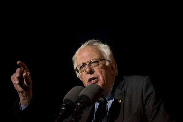 Sen. Bernie Sanders (I-Vt.) speaks at a rally in the Bronx on March 31. Sanders has criticized a bill he believes would take freedoms from Puerto Rico ahead of New York's presidential primary on April 19.