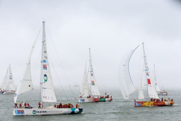 Yachts at the startof theClipper 2015-16 Round the World Yacht